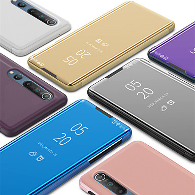 Недорогие Чехлы и кейсы для Xiaomi-чехол для xiaomi mi 10 10 pro с подставкой / зеркалом флип чехлы для всего тела однотонная искусственная кожа pc cc9 pro mi note 10 note 10 pro redmi note 8 note 8 pro