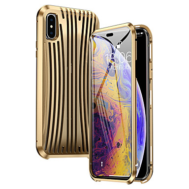 Недорогие Кейсы для iPhone-Кейс для Назначение Apple iPhone XS Max Защита от удара Чехол Однотонный Металл