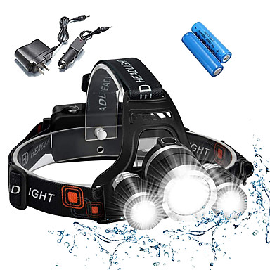 cheap Headlamps-Headlamps Bike Light Headlight Waterproof Rechargeable 5000 lm LED 3 Emitters 4 Mode with Batteries and Chargers Waterproof Rechargeable Impact Resistant Camping / Hiking / Caving Everyday Use Police