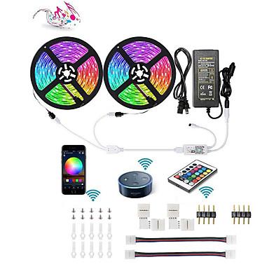 ieftine Benzi De Lumini LED-Kit inteligent led led led band 5050 rgb 10m 2 * 5m 300 leds telefon controlat led bandă kittimer led bandă faruri cu android ios și google home și 12v 6a alimentare
