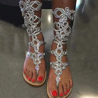 povoljno Cipele i torbe-Žene Sandale Kristalni sandale Ravna potpetica Otvoreno toe Sintetika Ljeto Srebro