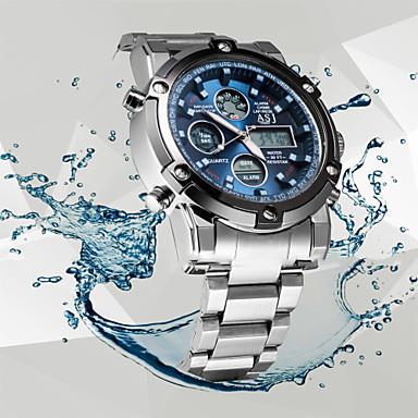 Недорогие Часы на металлическом ремешке-ASJ Муж. Спортивные часы Наручные часы электронные часы Кварцевый Мода Защита от влаги Аналого-цифровые Белый Черный Синий / Нержавеющая сталь / Японский / Два года / Секундомер / ЖК экран