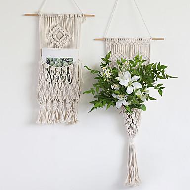 povoljno Zidni ukrasi-zidna polica od makrame, drvena plutajuća viseća viseća polica za vješalice, ručno rađeni pamučni konop bohomia tkani ukras za zid zidova