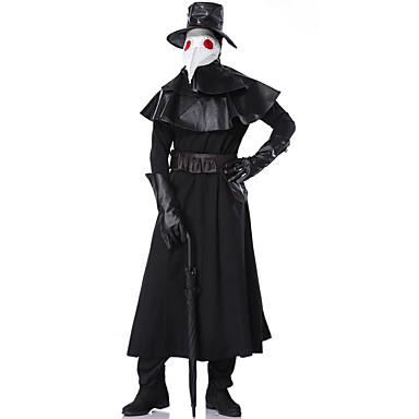 cheap Latin Dancewear-Plague Doctor Costume Adults Men's Scary Masquerade Cosplay Costumes Costumes Men's Dance Costumes Cotton Blend Ruching Vintage