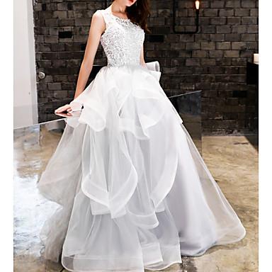 povoljno Maturalne haljine-Krinolina Ovalni izrez Do poda Poliester Elegantno / Bijela Angažman / Prom Haljina s Aplikacije / Volani 2020
