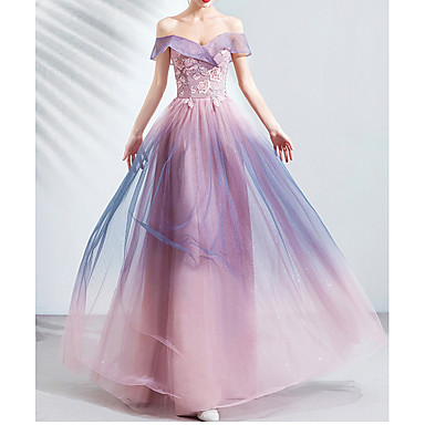 hesapli Nedime Elbiseleri-A-Şekilli Straplez Yere Kadar Dantelalar / Tül Nedime Elbisesi ile Aplik