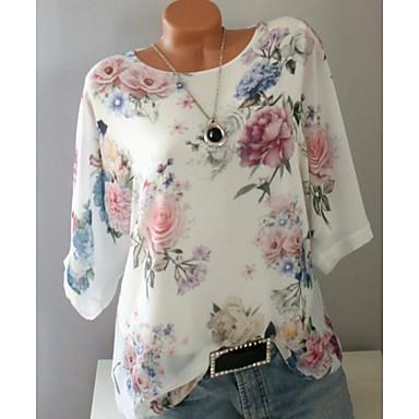 cheap Blouses & Shirts-Women's Daily Plus Size Blouse Floral Print Half Sleeve Loose Tops Chiffon White Blue Purple