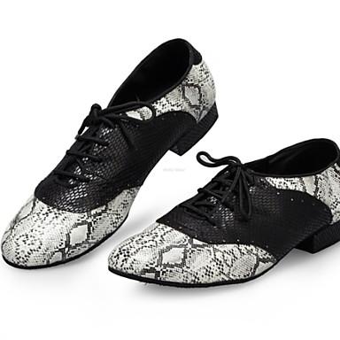 Недорогие Мужская мода-Муж. Обувь для модерна Полиуретан На плоской подошве На плоской подошве Танцевальная обувь Серебряный