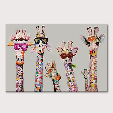 cheap Wall Art-Mintura Large Size Hand Painted Abstract Giraffe Animals Oil Paintings on Canvas Pop Art Wall Pictures For Home Decoration No Framed