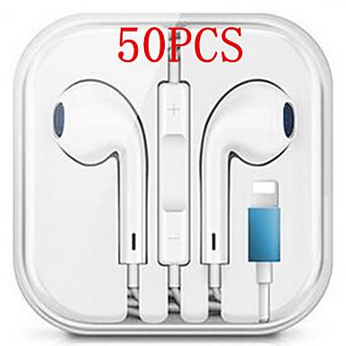 ieftine Aurii cu fir cu fir-Căști hibrid stereo cu fir de 50 buc pentru iPhone 7 8 plus căști x x x x x max cu microfon și fir sonor