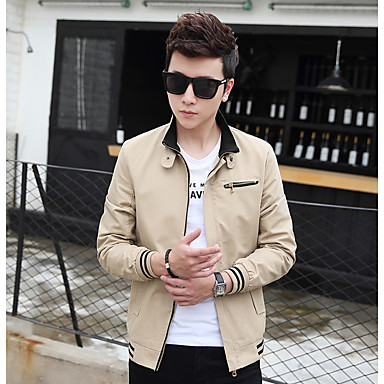 cheap Men's Jackets-Men's Daily Regular Jacket, Solid Colored Stand Long Sleeve Cotton Black / Light Brown / Navy Blue