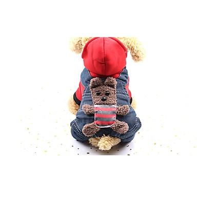 povoljno Odjeća za psa i dodaci-Pas Kaputi Jumpsuits Zakó Zima Odjeća za psa Bijela Crvena Kostim Beba Mali pas Pamuk Traperice Novogodišnji XS S M L XL
