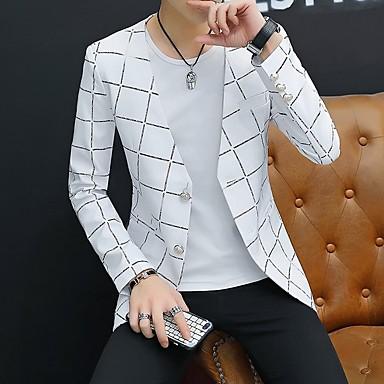 hesapli Erkek modası-Erkek Blazer V Yaka Polyester Beyaz / Siyah / Koyu Mavi