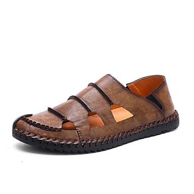 hesapli Erkek modası-Erkek Ayakkabı PU Yaz Sandaletler Dış mekan için Kırmızı Şarap / Haki / Siyah