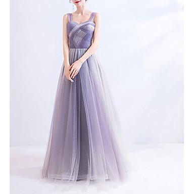 hesapli Nedime Elbiseleri-A-Şekilli Kalp Yaka Yere Kadar Dantelalar / Tül Nedime Elbisesi ile Pileler