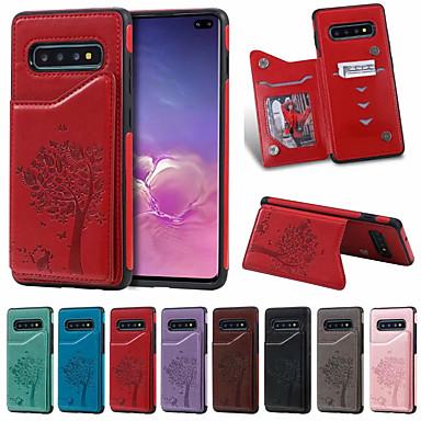 Недорогие Чехлы и кейсы для Galaxy S-чехол для samsung galaxy s9 / s9p / s10 / s10p / s10e / s10 5g держатель карты / противоударный / мультфильм пу кожа