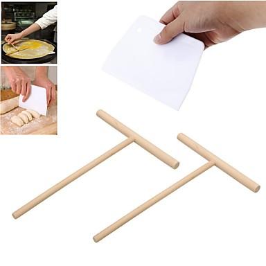رخيصةأون أدوات خاصة-2 قطع t شكل كريب صانع فطيرة الخليط خشبي الموزعة عصا و 1 قطع بيع كريم السلس كعكة ملعقة الخبز المعجنات أدوات