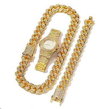 ieftine Seturi de Bijuterii-Bărbați Seturi de bijuterii Retro Norocos Declarație Lux Punk La modă Modă Diamante Artificiale cercei Bijuterii Roz auriu / Auriu / Argintiu Pentru Logodnă Cadou Stradă Festival 3pcs
