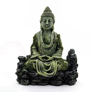halpa Akvaario- ja kalatarvikkeet-akvaariokoriste hartsi muinainen jäljitelmä buddhan patsas rauniot akvaario sisustus