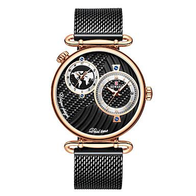 Недорогие Часы на металлическом ремешке-Муж. Нарядные часы Кварцевый Мода Защита от влаги Аналоговый Черный + Gloden Черный Синий / Один год / Нержавеющая сталь / Японский / С двумя часовыми поясами / Японский