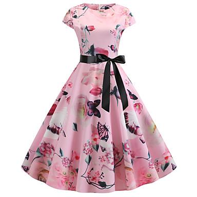 povoljno Ženske haljine-Žene Blushing Pink Haljina Vintage Style Ulični šik Party Dnevno Swing kroj Cvjetni print Print Kolaž Print S M / Pamuk