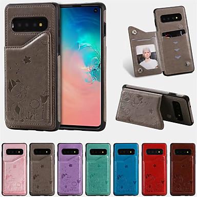 Недорогие Чехлы и кейсы для Galaxy S-Кейс для Назначение SSamsung Galaxy Galaxy S10 Бумажник для карт / Защита от удара / С узором Кейс на заднюю панель Мультипликация Кожа PU