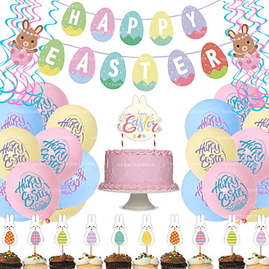 povoljno Dekoracija doma-1 set uskrsnih zečica s povlačenim zastavicama 18 baloni s uskrsnim tiskom od 12 inča (6 ružičastih 6 plavih 6 žutih) 1 set karata sa zečjim tortama od 24 komada 1 uskrsna karta 6 duplih helikoptera