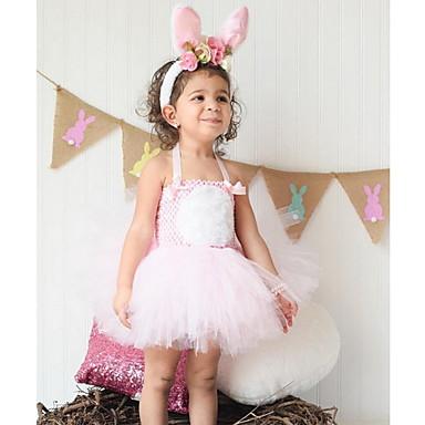 povoljno Odjeća za bebe-Dijete Djevojčice Osnovni Uskrs Rabbit Jednobojni Bez rukávů Haljina Blushing Pink