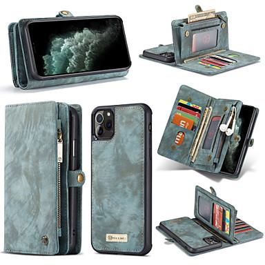 Недорогие Кейсы для iPhone-Кейс для Назначение Apple iPhone 11 / iPhone 11 Pro / iPhone 11 Pro Max Кошелек / Бумажник для карт / Защита от удара Чехол Однотонный Кожа PU