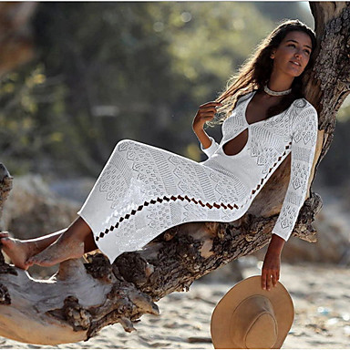 povoljno Novo u ponudi-Žene Crn Obala Bež Prikriti Kupaći kostimi Kupaći kostim - Jednobojni One-Size Crn