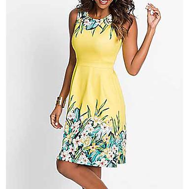 povoljno Print Dresses-Žene 2020 Bijela Fuksija Haljina Elegantno Proljeće ljeto A kroj Cvjetni print Print S M