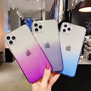 Недорогие Кейсы для iPhone-Кейс для Назначение Apple iPhone 11 / iPhone 11 Pro / iPhone 11 Pro Max Полупрозрачный / Сияние и блеск Кейс на заднюю панель Градиент цвета / Однотонный ТПУ