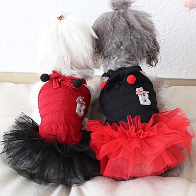 povoljno Odjeća za psa i dodaci-Psi Kostimi Haljine Odjeća za psa Prozračnost Crvena Obala Crn Kostim Bigl bišon friz Čivava Pamuk Voiles & Sheers Mašna Zabava Slatka Style XS S M L XL