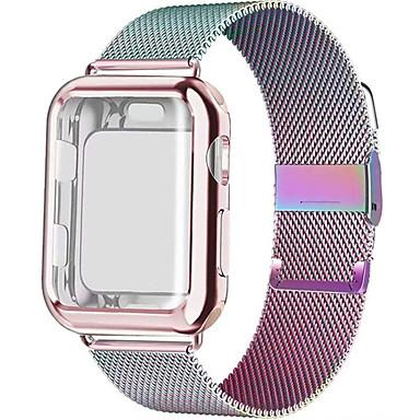 baratos Pulseira para Apple Watch-Banda de loop milanesa com estojo para apple watch series 5/4/3/2 38mm 42mm 40mm 44mm pulseira de aço inoxidável pulseira de pulso para iwatch
