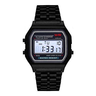 cheap Digital Watches-Men's Digital Watch Automatic self-winding Formal Style Sporty Stainless Steel Black / Silver / Gold 30 m Calendar / date / day Alarm Clock Digital Casual Outdoor - Black Gold Silver Two Years