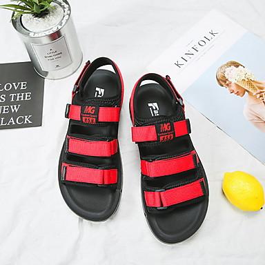 povoljno Muška moda-Muškarci Platno Proljeće ljeto Sportski Sandale Prozračnost Color block Crvena / Crn