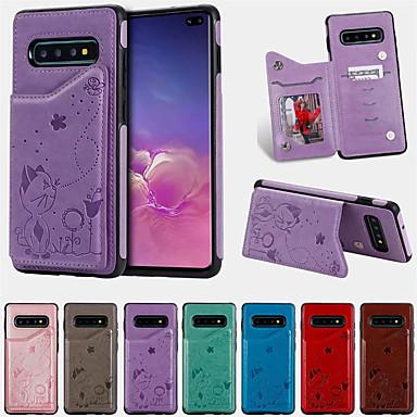 Недорогие Чехлы и кейсы для Galaxy S-Кейс для Назначение SSamsung Galaxy Galaxy S10 Plus Бумажник для карт / Защита от удара / С узором Кейс на заднюю панель Мультипликация Кожа PU