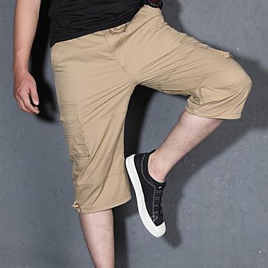povoljno Kratke hlače-Muškarci Osnovni Kratke hlače Hlače - Jednobojni Vojska Green Žutomrk Crn US34 / UK34 / EU42 US36 / UK36 / EU44 US38 / UK38 / EU46
