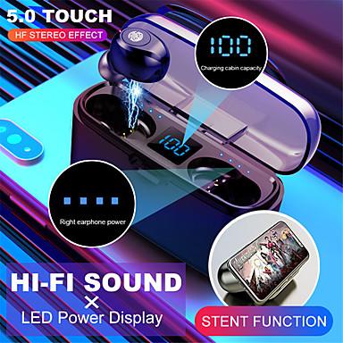 Недорогие Наушники и гарнитуры-Беспроводная Bluetooth-гарнитура v5.0 f9-8 tws Беспроводная Bluetooth-гарнитура светодиодный дисплей 2000 мАч зарядное устройство гарнитуры с cvc8.0 микрофоном для снижения шума