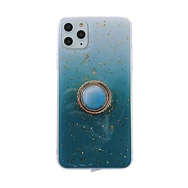رخيصةأون حافظات الهواتف المحمولة-غطاء من أجل Apple اي فون 11 / iPhone 11 Pro / iPhone 11 Pro Max حامل الخاتم / بريق لماع غطاء خلفي لون سادة / نموذج هندسي / بريق لماع TPU