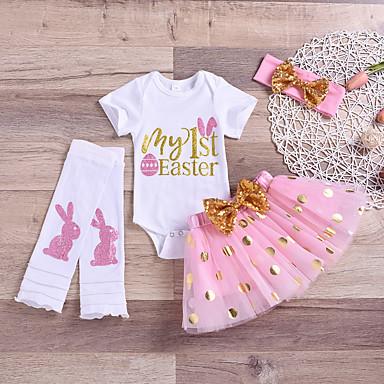 povoljno Odjeća za bebe-Dijete Djevojčice Aktivan Osnovni Uskrs Rabbit Print Mašna Mrežica Kratkih rukava Regularna Komplet odjeće Obala / Dijete koje je tek prohodalo