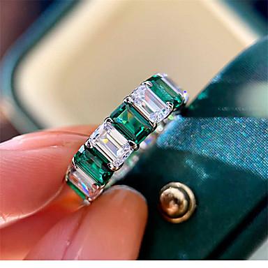 Недорогие Ювелирные украшения-5 карат Синтетический изумруд Кольцо Серебристый Назначение Жен. Изумрудная огранка Стиль Античный Роскошь Элегантный стиль Свадьба Вечерние Официальные Высокое качество Ретро