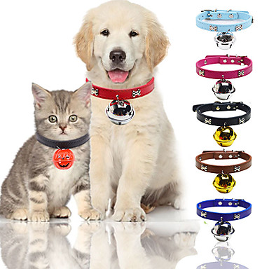 cheap Dog Collars, Harnesses & Leashes-Dog Cat Collar Trainer Walking With Bell For Dog / Cat Anti Lost Solid Colored Bone PU Leather / Polyurethane Leather Husky Golden Retriever Dalmatian Japanese Spitz Corgi Beagle Red Fuchsia