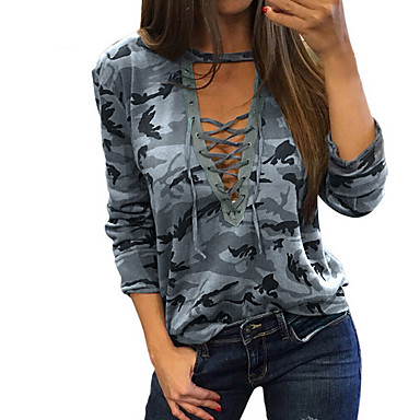 cheap Tees & Tank Tops-Women's T-shirt Camo / Camouflage Print Tops Basic V Neck Gray