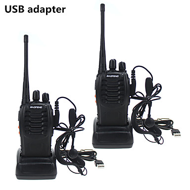 cheap Walkie Talkies-2PCS Baofeng BF-888S Walkie Talkie adaptador de carga USB porttil Radio CB Radio UHF 888S Comunicador transceptor  2 auriculares