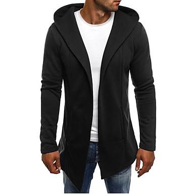tanie Męskie swetry i swetry rozpinane-Męskie Solidne kolory Sweter rozpinany Długi rękaw Długie Swetry rozpinane Kaptur Biały Czarny Jasnoszary