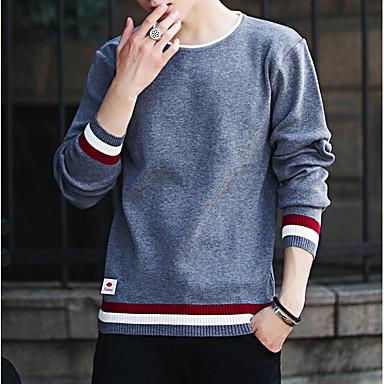 povoljno Muški džemperi i kardigani-Muškarci Color block Dugih rukava Pullover Džemper od džempera, Okrugli izrez Red / Navy Plava / Crn US34 / UK34 / EU42 / US36 / UK36 / EU44 / US38 / UK38 / EU46