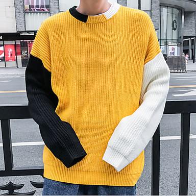 povoljno Muški džemperi i kardigani-Muškarci Color block Dugih rukava Pullover Džemper od džempera, Okrugli izrez Bijela / Obala / Crn US32 / UK32 / EU40 / US34 / UK34 / EU42 / US36 / UK36 / EU44