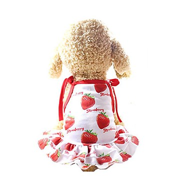cheap Dog Clothing & Accessories-Dog Dress Dog Clothes Red Costume Husky Golden Retriever Dalmatian Mesh Fruit Slogan Casual / Daily Cute XS S M L XL XXL