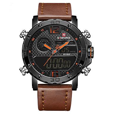 Недорогие Часы на кожаном ремешке-Муж. Нарядные часы Наручные часы электронные часы Кварцевый Классика Защита от влаги Аналого-цифровые Черный / Желтый Черный Черный / Красный / Кожа / ЖК экран